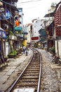 Hanoi vietnam june usual life and houses on the rai railway track in Royalty Free Stock Photo
