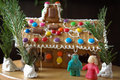 Hansel and gretel with gingerbread house marzipan witch Royalty Free Stock Photos
