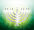 Hanukah candles over a colorful green illustration design background Royalty Free Stock Photos