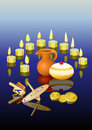 Hanukkah background with candles Stock Photo