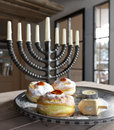 Hanukkah background with candles, donuts, spinning top Royalty Free Stock Photo
