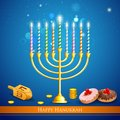 Hanukkah background illustration of burning candle in menorah with dreidel Royalty Free Stock Photos