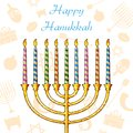 Hanukkah background illustration of candle on festive pattern Stock Photos