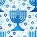 Hanukkah blue white seamless pattern illustration design effect silhouette element color background graphic texture Stock Images