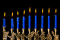Hanukkah candles on black background Royalty Free Stock Photo