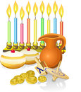 Hanukkah candles, donuts, oil pitc Royalty Free Stock Image