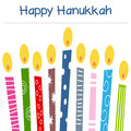 Hanukkah candles greeting card a happy with a stylized and retro menorah or hanukiah eps file available Royalty Free Stock Image