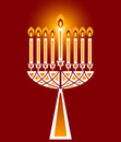 Hanukkah candles with unique decorative base and flames no transparencies Royalty Free Stock Image