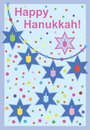 Hanukkah card a happy greeting with stars of david and dreidels Stock Photo