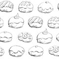 Hanukkah donuts seamless pattern holiday vector background with sufganiyah sufganiyah is a donut for the jewish holiday Royalty Free Stock Images