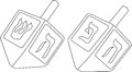 Hanukkah dreidel coloring page vector illustration of dreidels for the jewish holiday Royalty Free Stock Photography