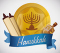 Hanukkah Elements on Blue Ribbon, Vector Illustration Royalty Free Stock Photo
