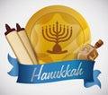 Hanukkah Elements on Blue Ribbon, Vector Illustration Royalty Free Stock Photo