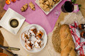 Hanukkah food full frame take of assorted homemade Royalty Free Stock Image
