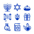 Hanukkah icons set Royalty Free Stock Photo