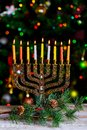 Hanukkah, the Jewish Festival of Lights defocused bokeh, bokeh light, Royalty Free Stock Photo