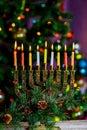 Hanukkah Menorah Jewish Festival of Lights defocused bokeh, Royalty Free Stock Photo