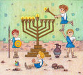 Hanukkah menorah lighting funny illustration of the maccabees a Royalty Free Stock Image