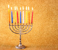 Hanukkah menorah over glitter background gold Stock Image