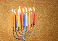 Hanukkah menorah over glitter background gold Royalty Free Stock Images