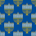 Hanukkah Menorah Seamless Pattern