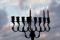 Hanukkah menorah on the second day of hanukkah with three burning candles Royalty Free Stock Photo