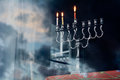 Hanukkah menorah on the second day of hanukkah with three burning candles secound Stock Images