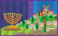 Hanukkah night in jerusalem colorful illustration of a menorah viewing on a stylized eps Royalty Free Stock Photo