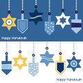 Hanukkah ornaments banner two happy banners greeting card with stylized hanging decorations star of david and dreidel eps file Royalty Free Stock Photo