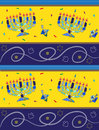 Hanukkah pattern colorful vector of mosaic menorahs and dreidels eps Royalty Free Stock Photos