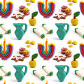 Hanukkah seamless handmade plasticine pattern. Modeling clay colorful texture. Isolated on white background