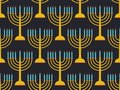 Hanukkah seamless pattern candlestick with nine candles. Black background. Vector