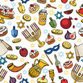 Hanukkah  seamless pattern.Doodle Jewish Holiday Royalty Free Stock Photo