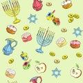 Hanukkah seamless pattern. Hand drawn doodle vector illustration