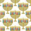Hanukkah seamless pattern. Hanukkah simbols. Hanukkah candles, menorah, sufganiot and dreidel.