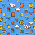 Hanukkah seamless pattern. Hanukkah simbols.