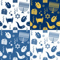 Hanukkah seamless patterns a pattern with elements in four different versions useful also as design element for texture pattern or Royalty Free Stock Image