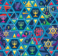 Hanukkah star line bright symmetry seamless pattern Royalty Free Stock Photo