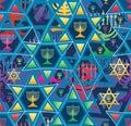 Hanukkah star line bright symmetry seamless pattern Royalty Free Stock Photo
