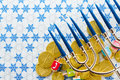 Hanukkah a still life composed of elements of the jewish chanukah festival Royalty Free Stock Image