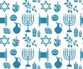 Hanukkah symbol seamless pattern.