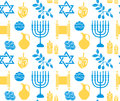 Hanukkah symbol seamless pattern. Hanukkah background with Menorah
