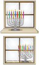 Hanukkiah On A Window Stock Image