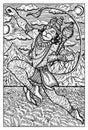 Hanuman, Hindu Monkey God, hand drawn illustration