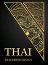 Hanuman monkey Thai art element Traditional design gold for greeting cards
