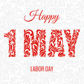 Happe 1 may labor day. Decorative Font made in swirls and floral