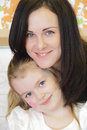 Happiest mother and daughter portrait of the Royalty Free Stock Photo