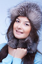Happiest woman in a fur cap Royalty Free Stock Photos