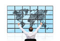 Happines businessman and flat panels with world map Stock Image