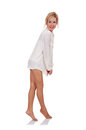 Happines sexy girl on a white background Stock Image